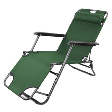 2 x Folding Reclining Garden Chair Outdoor Sun Lounger Deck Camping Beach Lounge - Green