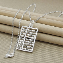 New Silver-Color Abacus Maths Pendant Necklace 925 Silver Link Chain Necklace Statement Jewelry