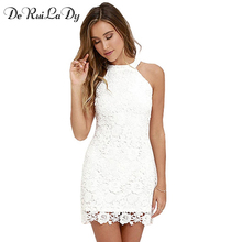 DeRuiLaDy Women Mini Bodycon Dress Elegant Wedding Party Sexy Night Club Casual Dresses Halter Neck Sleeveless Lace Summer Dress(China)