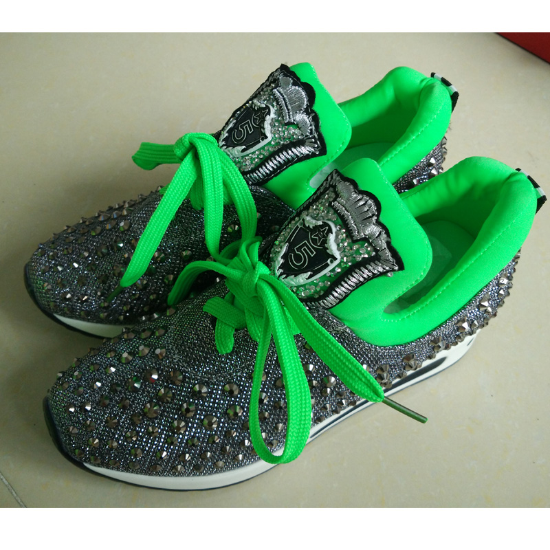 pop women outdoor mesh casual shoes lace up trainers rhinestone flat shoes platform walking shoes zapatillas deportivas XK082912<br>