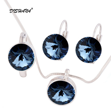2017 Austrian Crystal Round Pendant Necklaces Earrings Ring Jewelry Sets For Women Girls Women's Day(js0092-1)(China)