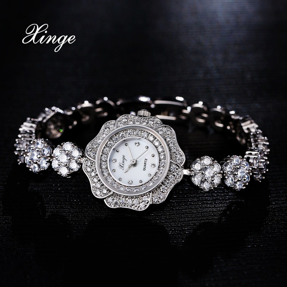 Xinge Brand 3A Zircon Women Luxury Steel Watch 30M Waterproof Silver Ladies Dress Quartz Wristwatch Women Bracelet Fashion Watch<br>