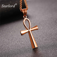 Starlord Ansata Cross/Ankh Egyptian Pendant Necklace Stainless Steel/Gold Color Key of The Life Rope Chain For Men/Women GP2406(China)