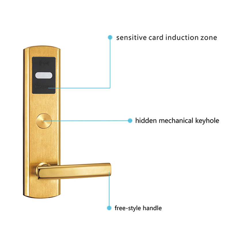 Digital Card Door Lock Smart Electronic RF Card ForANSI 5 Latches Mortise Gold Hotel Office Apartment L&amp;S SL16-022BG-4<br><br>Aliexpress