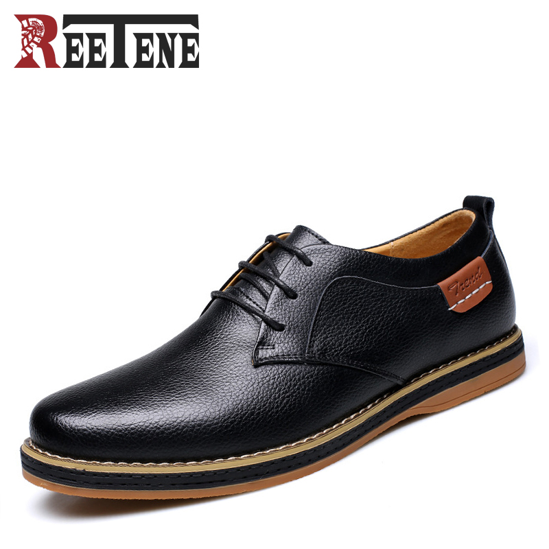 2017 Spring Autumn New Fashion Mens Casual Shoes Leather Men Comfortable Oxfords Breathable Lace-Up Male Flats Black Shoes<br>