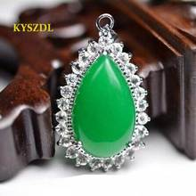 KYSZDL 2017 the newest products Heart Green stone Pendant Fashion trend birthday gift jewelry(China)