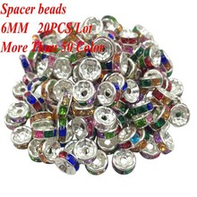 Crystal Spacer Metal Silver Plated Rondelle Beads 6MM(20PCS/LOT) Hot Sale Spacer Beads Rhinestone Loose Beads For Jewelry Making