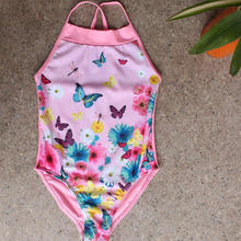 Retail Girls Swimwear Butterfly Dragonfly flowers printing one-piece swimsuit Kids Swimming Suit(China)