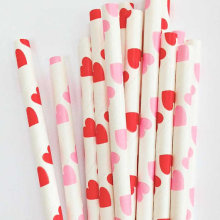Free Shipping 2500pcs Valentine Mix Hearts Straws Pink & Red Paper Drink Straws Valentine Supply Wedding Engagement Party