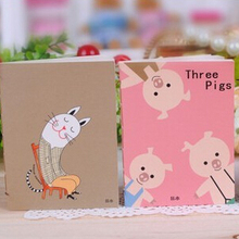 Free Shipping Kawaii Stationery Cartoons Animals Head Cover Notebook Pocket Exercise Book Diary Notebook Paper Notepad