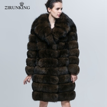 ZIRUNKING Real Blue Fox Fur Coat Fashion Gigh-end Turn-down Collar Winter Warm Women Outerwear Female Detachable Clothes ZC1604(China)