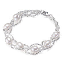 SNH 100% Real  Genuine Freshwater Pearl Bracelet cultured rice shape beads natural pearl bracelet