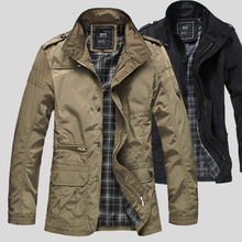 men 's clothing increase fat coat plus size M-5XL men' s casual solid jacket men 's stand collar jackets black khaki(China)