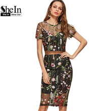 SheIn Elegant Two Piece Women Set Black Short Sleeve Botanical Embroidered Mesh Overlay Crop Top With Pencil Skirt