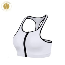 Zipped Plunge High Neck Halter Sports Bra - Women's Running High Support Front Zipper Zip Up Compression Slim Fit Bikini Bra Top