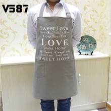 Canvas Kitchen Apron Korean Waiter Aprons With Pockets Restaurant Home Cooking Tool Shop Art Work Apron