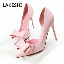 New Fashion Women Pumps Thin High Heels Women Shoes Hollow Pointed Toes Spring Sweet High Heels Pink Black(China)