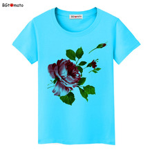 BGtomato Red roses classic beautiful flower t shirt Women New style popular summer shirt Original brand Good quality casual tops