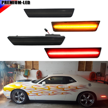 (4) Smoked Lens Front & Rear Side Marker Lamps with 120-SMD LED Lights For 08-14 Dodge Challenger (Front: Amber, Rear: Red)