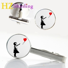 2017 New Banksy Girl and Heart Balloon Tie Clip Glass Photo Cufflink Silver Clips & Cufflinks Set Gifts For Women CT-00101