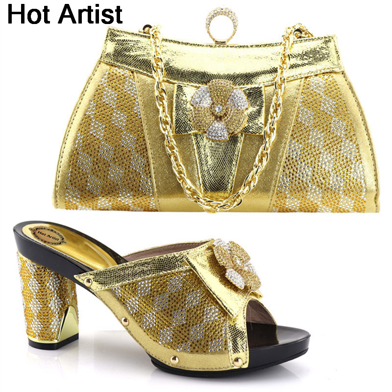 Hot Artist Latest African Style Shoes And Bag Set Italian Ladies Party Shoe And Bag Set Nigerian Rhinestone Shoes And Bag YH-12