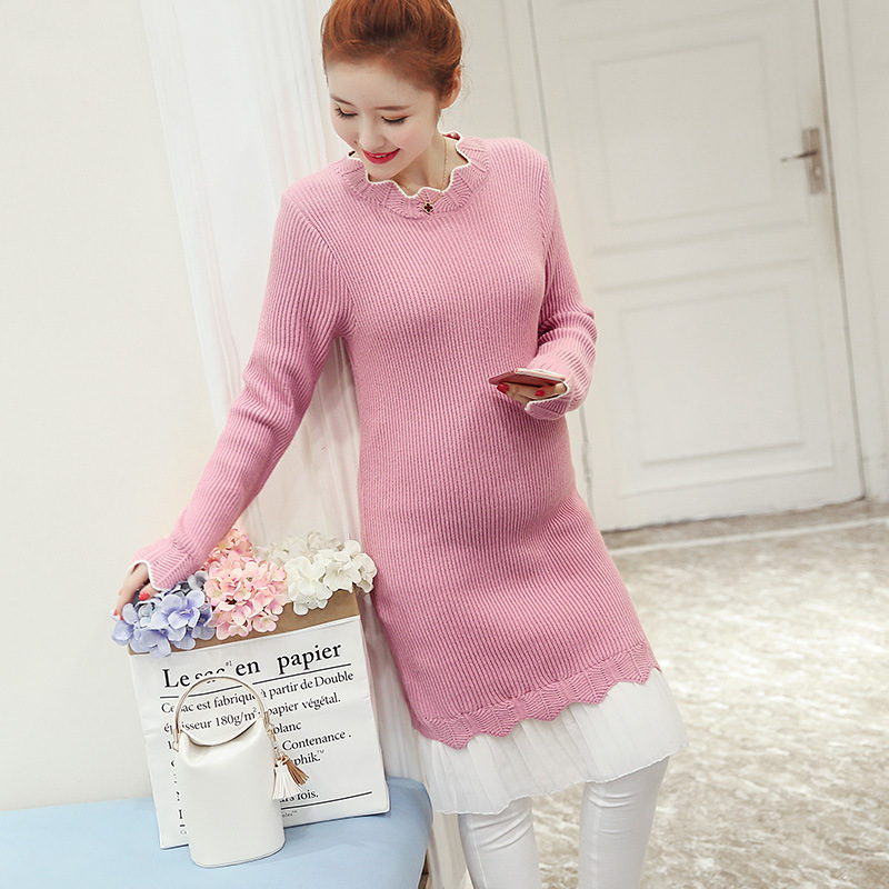 Maternity Knitted Sweater Autumn Dress elasticce Long Sleeves Large Size Sweater Dress Pregnant Women  Knitting Dresse YL353 <br>