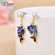 Summer Style Punk Ethnice Fish Dangle Earring Cloisonne Pearl Drop Earrings Cute Woman's Gift Banquet Party Jewelry Findings(China)