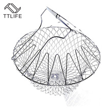 TTLIFE Foldable Stainless Steel Steam Rinse Strain Fry French Chef Basket Mesh Basket Strainer Net Multi-function Kitchen Tool
