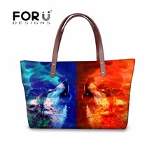 FORUDESIGNS Women Casual Cross Body Bags Handbags Cool 3D Animal Wolf Printed Women's Fashion Messenger Bags Large Female Bolsas(China)