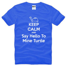 Buy KEEP CALM AND Say Hello Mine Turtle Printed T Shirt Men Summer Short Sleeve O-Neck Cotton Men's T-Shirt Funny Tee Shirt Homme for $9.99 in AliExpress store