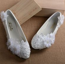 White flat heel fashion flowers wedding shoes, proms evening party shoes, lady girl dance dress flats, quick shipping low price