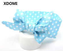 DIY:do baby big bowknot yourself cute dot print baby girls bow headband headwrap children hair accessory(China)