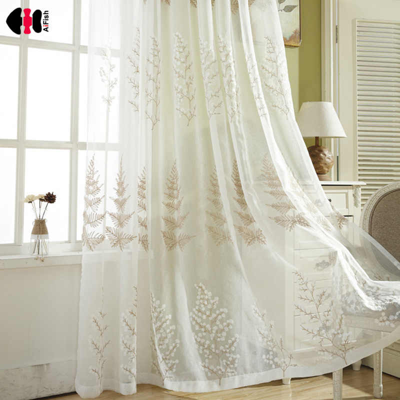 Pastoral Pine Embroidered Tulle Curtains for Bedroom Wedding French Curtain Home Decoration Voile Panel WP257C