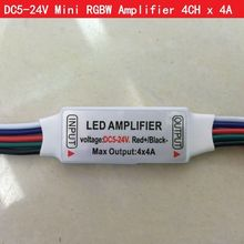 Led Mini RGBW Amplifier with 5Pin wire DC 5-24V 4CH x 4A for 5050 2835 RGBW LED Strip Light RGB , Good Quality, Free shipping