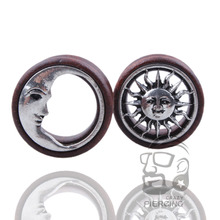 2pcs/lot New Arrival Sun & Moon Wooden Ear Gauges Ear Tunnel Plugs Flesh Stretcher Body Piering Jewelry