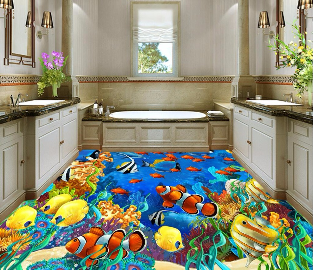 Custom mural 3d flooring picture pvc self adhesive wallpaper bedroom Coral seaweed fish decor painting 3d wall murals wallpaper<br>