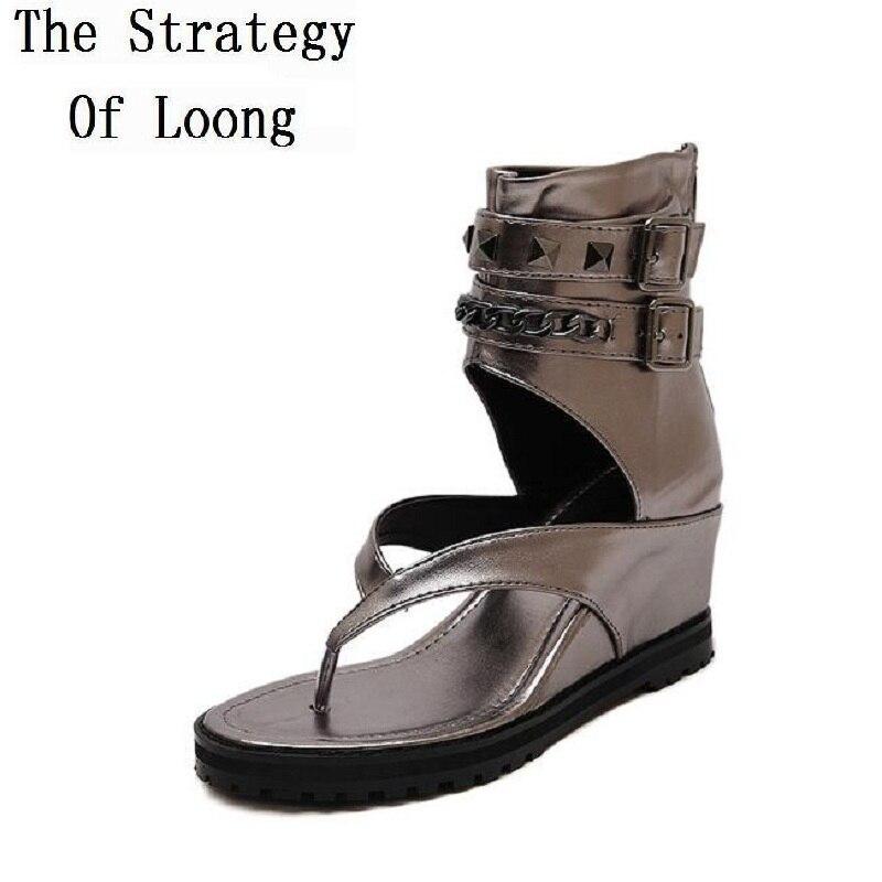Wedges Elevator Women Back Zipper Sandals Boots Woman Knight Summer Buckle Peep Toe Cutout Short Boots Size 35-40 SXQ0731<br>