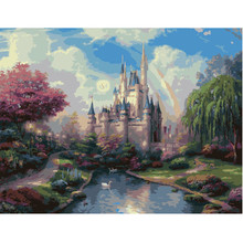 Frameless Rainbow Castle Pictures Painting By Numbers DIY Digital Oil Painting On Canvas Home Decoration Wall Art 40x50cm G106(China)