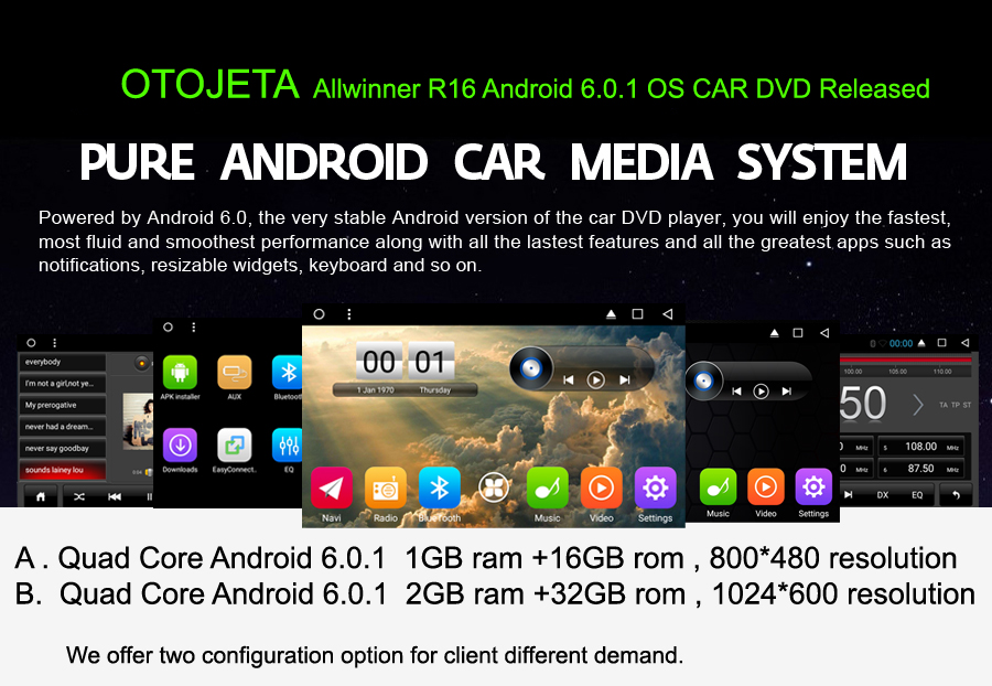 OTOJETA autoradio 2GB ram+32GB rom Android 6.0.1 car dvd player for hyundai sonata 2006 obd2 multimedia radio gps tape recorder
