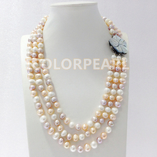 Three-row 8-9mm Real Natural Potato Shaped White,Pink,Purple Freshwater Pearl Necklace With A Flower Shell Clasp