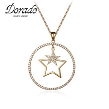 Dorado Fashion Lovely Female New Zircon Stone Double Stars Pendant Necklace Women Fancy Gold Color Chain Necklace Wholesale(China)