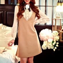 dabuwawa sleeveless dress 2016 new autumn winter wear korean temperament v neck short fashion slim vest dresses women pink doll