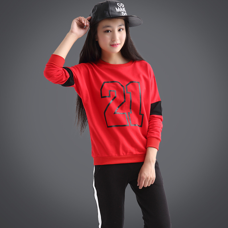 Childrens Garment Autumn Girl Digital Sweater Sports Pants Girl Suit 2 Pieces Kids Clothing Sets<br>