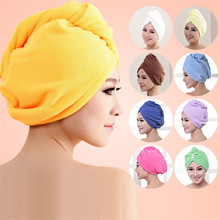 New Microfiber Hair Wrap Towel Hat Turban Women Twist Quick Drying Dry Cap Ladies Plush Bath Spa Solid Free Shipping P102