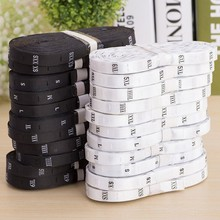 600pcs/roll XXS-6XL High Quality Black Satin Size Labels Embroidered Black Size Tags Babys Clothing Washable Care Labels