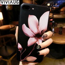 Chinese Lotus Flower Classic Case for iPhone 7 7plus Phone Case for iPhone 6 6s Plus Soft TPU Cover Coque Floral Capa Funda(China)