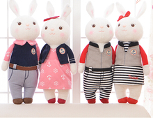 Metoo 1pc 34cm new arrive Tiramitu couple navy grid rabbit bunny sweet cartoon plush animal doll stuffed toy children women gift