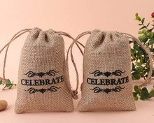 "100pcs Black Printed ""CELEBRATE"" Theme Burlap Hessian Drawstring Bags Candy Gift Bag Rustic Wedding Decor Free Shipping"