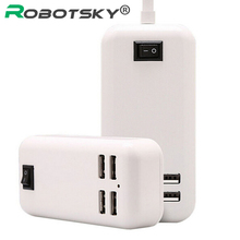 4 Ports Portable USB Hub Desktop EU/US Plug Wall Charger AC Power Adapter for iphone samsung HTC ect smartphones