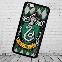 Harry Potter Hogwarts Slytherin cellphone printed mobile phone bag  shell  for iphone 5s 4s 5c 6 6 7plus  TPU rubber case